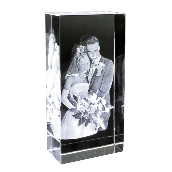 3D Foto im Studio Glasblock Hochformat 100x200x50 mm 1-2 Personen