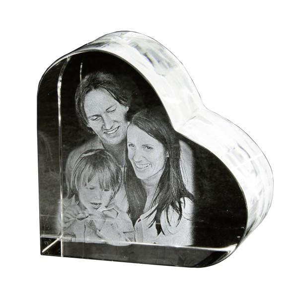 Glasherz 3D selbststehend 70x70x37 mm 1-2 Kopfe