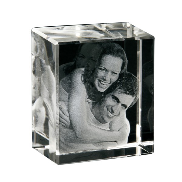 3D Portrait - Glasbild Hochformat 60x70x40 mm 1-2 Personen