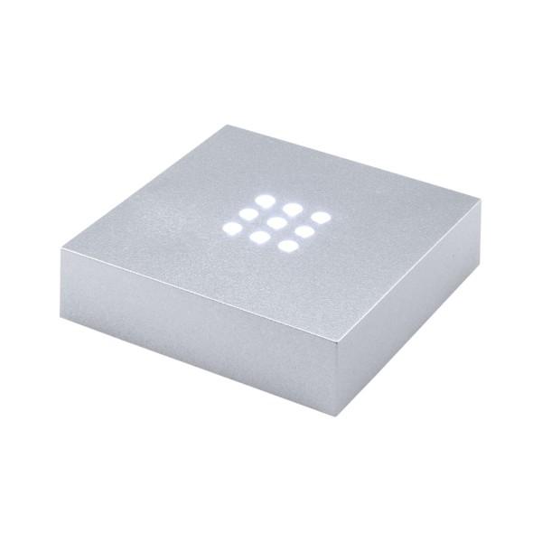 646931 - silberner Leuchtsockel mit weissem Licht 76 76 20 mm (Batteriebetrieb)