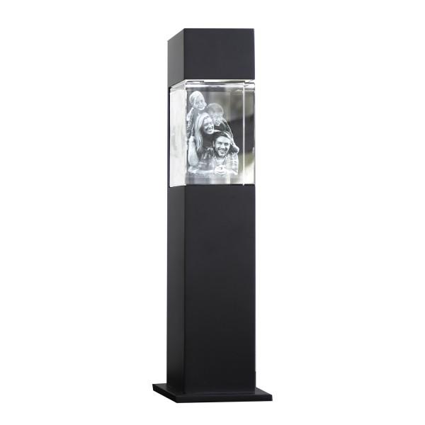 Stele, schwarz mit Glasblock 130x90x75 mm hoch 1-6 Personen