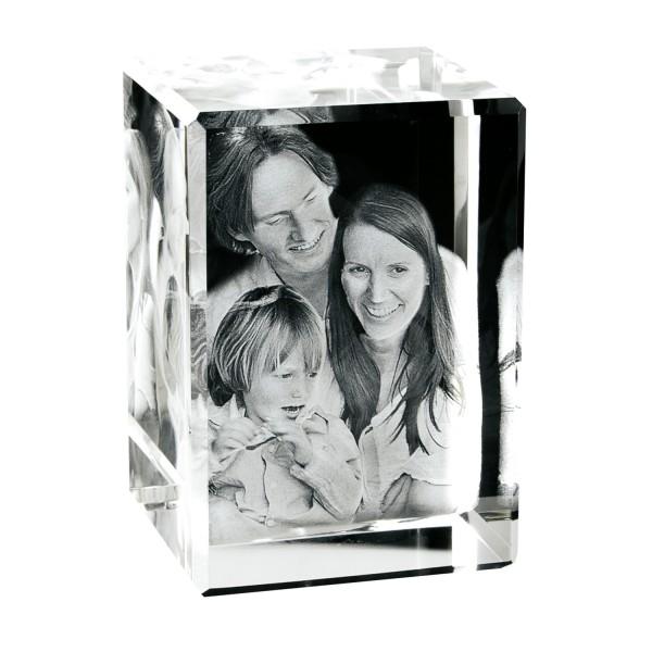Foto in Glas als 3D Portrait Hochformat 90x130x75 mm 1-6 Personen