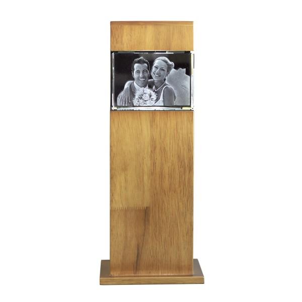 Stele, Holz mit Glasblock 100x70x60 mm quer 1-4 Personen