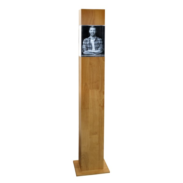 Stele, Holz mit Glasblock 200x150x100 mm hoch 1-10 Personen