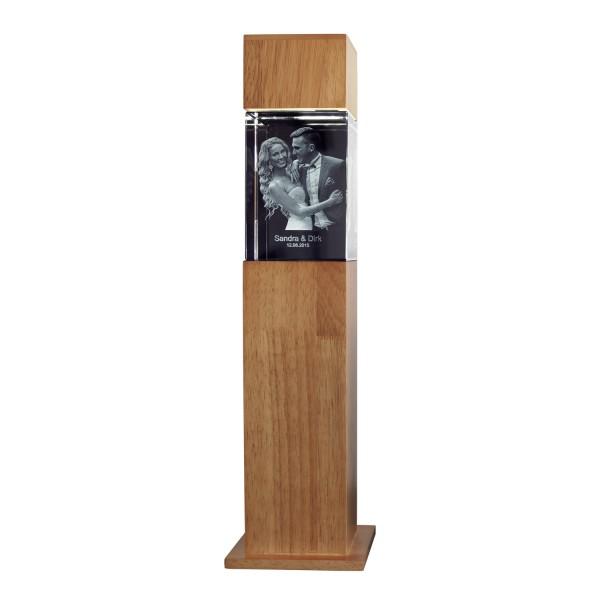 Stele, Holz mit Glasblock 130x90x75 mm hoch 1-6 Personen