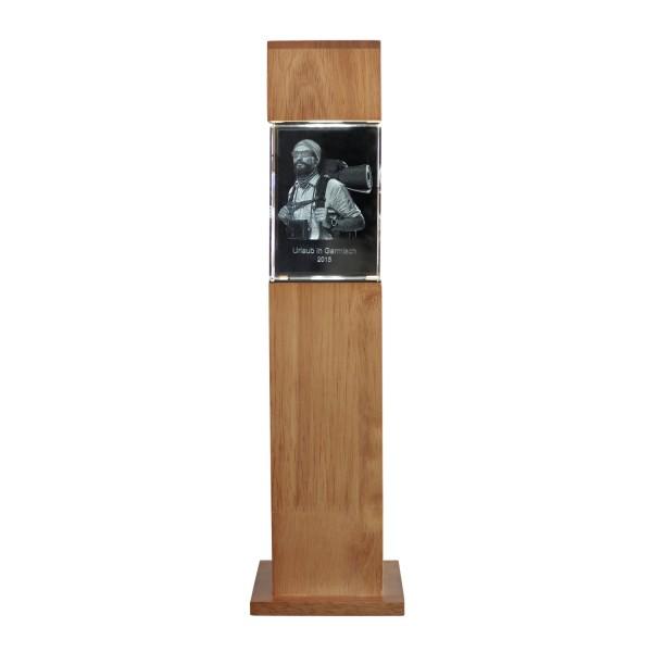 Stele, Holz mit Glasblock 100x70x60 mm hoch 1-4 Personen