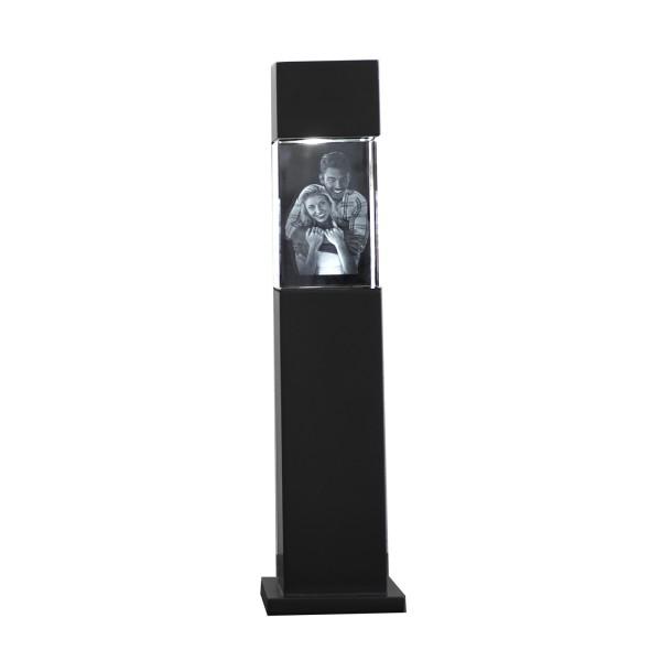 Stele, schwarz mit Glasblock 90x60x60 mm hoch 1-3 Personen