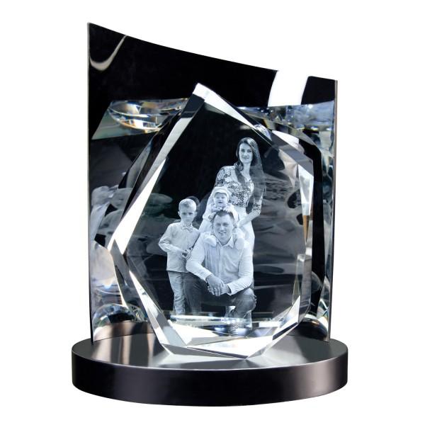 3D Glasfoto DIAMOND XL + Clarisso® Sockel - SET