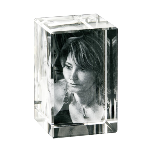 Foto in 3D Portrait-Glasblock Hochformat 50x80x50 mm 1-2 Personen