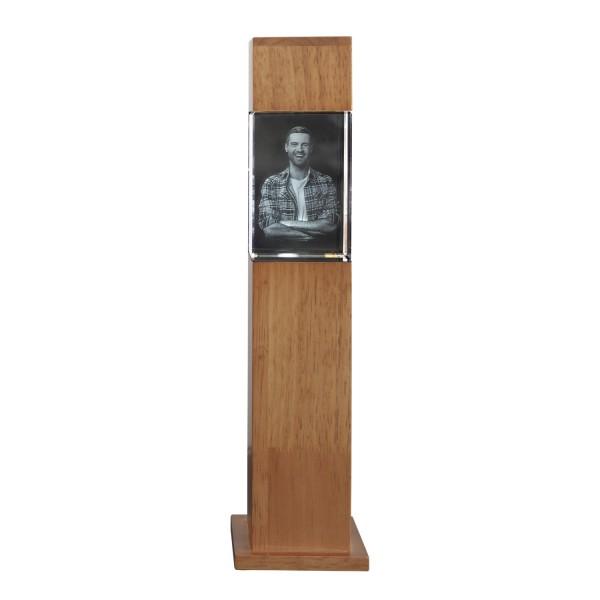 Stele, Holz mit Glasblock 90x60x60 mm hoch 1-3 Personen