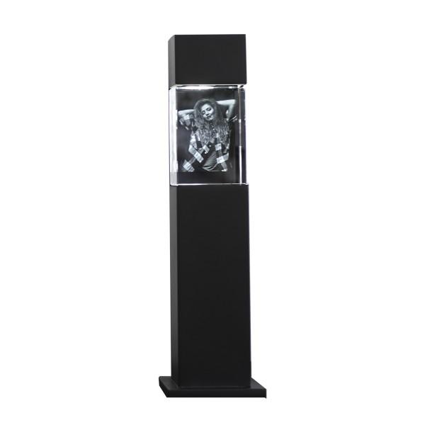Stele, schwarz mit Glasblock 100x70x60 mm hoch 1-4 Personen