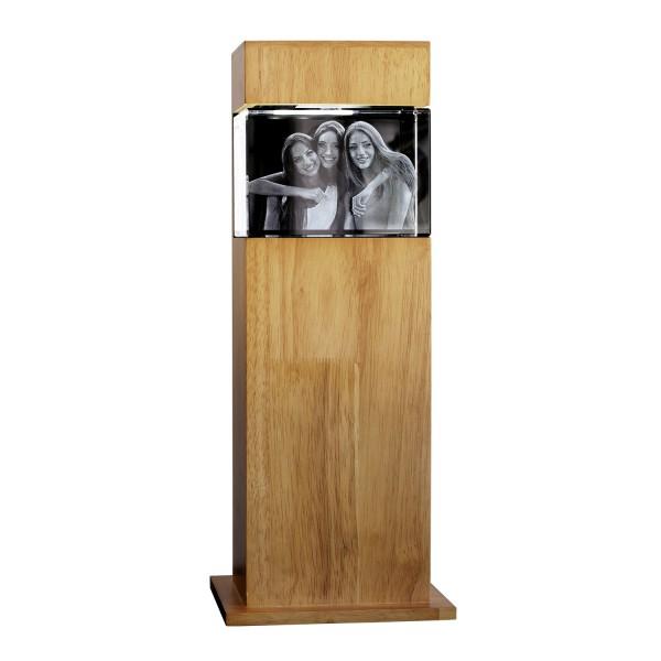 Stele, Holz mit Glasblock 130x90x75 mm quer 1-6 Personen