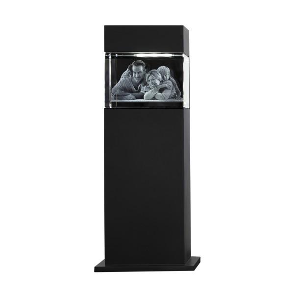 Stele, schwarz mit Glasblock 130x90x75 mm quer 1-6 Personen