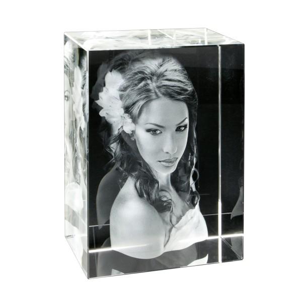Foto in 3D Portrait - Glas Hochformat 70x100x60 mm 1-3 Personen
